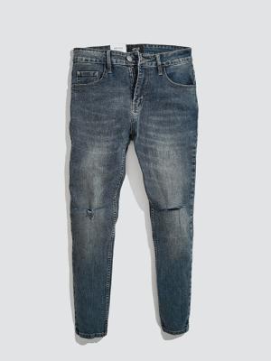Quần Jeans Rách Gối Form Slimfit QJ015 Màu Xanh