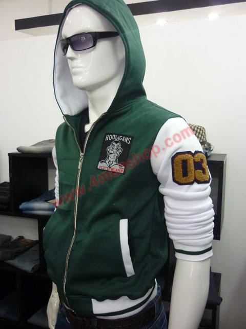 Áo khoác bóng chày k36 xanh rêu b - 2