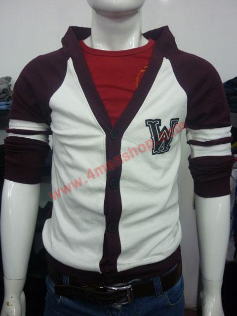Áo khoác cardigan ac007 màu rượu nho - 1