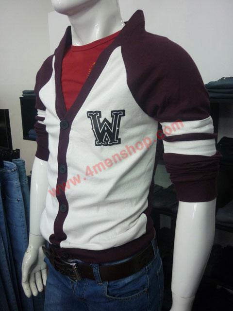 Áo khoác cardigan ac007 màu rượu nho - 2