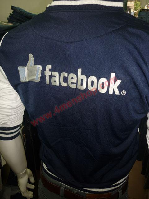 Áo khoác bóng chày facebook k42 xanh đen logo bóng - 3