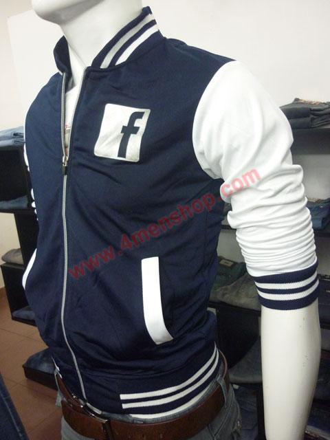 Áo khoác bóng chày facebook k42 xanh đen logo bóng - 2