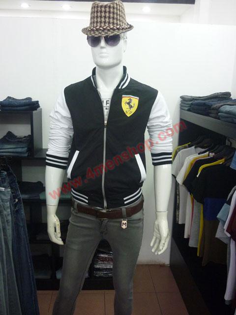 Áo khoác bóng chày ferrari k43 đen - 3
