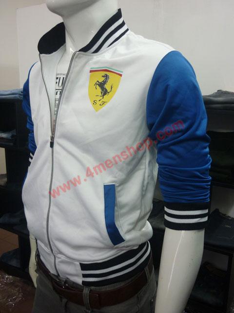Áo khoác bóng chày ferrari k43 trắng - 2