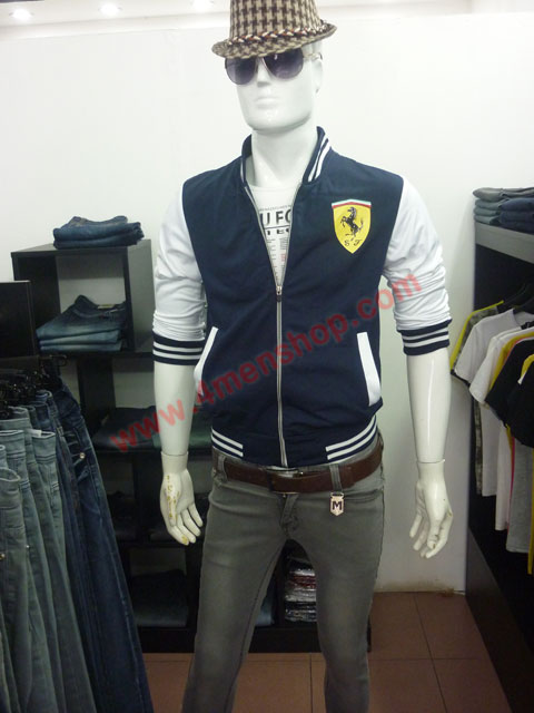 Áo khoác bóng chày ferrari k43 xanh đen - 4