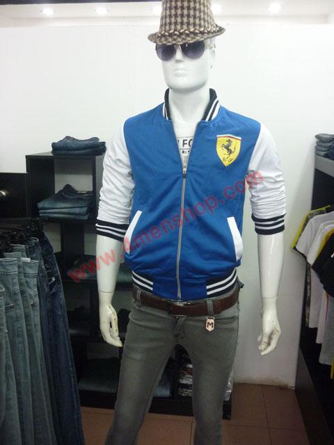 Áo khoác bóng chày ferrari k43 xanh dương - 3