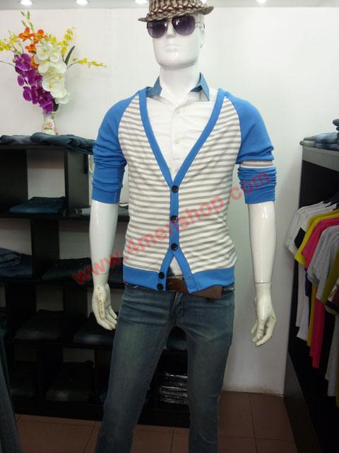 Áo khoác cardigan ac45 xanh da trời - 3
