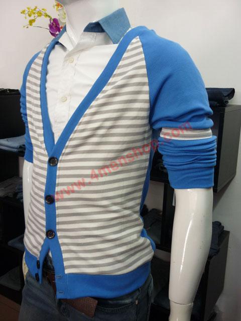 Áo khoác cardigan ac45 xanh da trời - 2