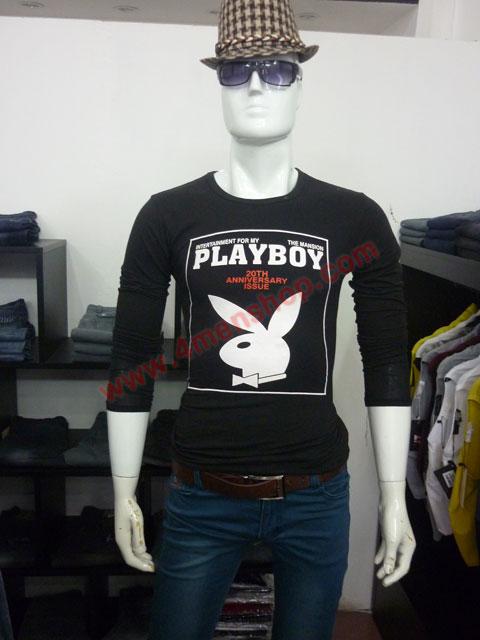 Áo thun tay dài playboy 2023 đen - 3