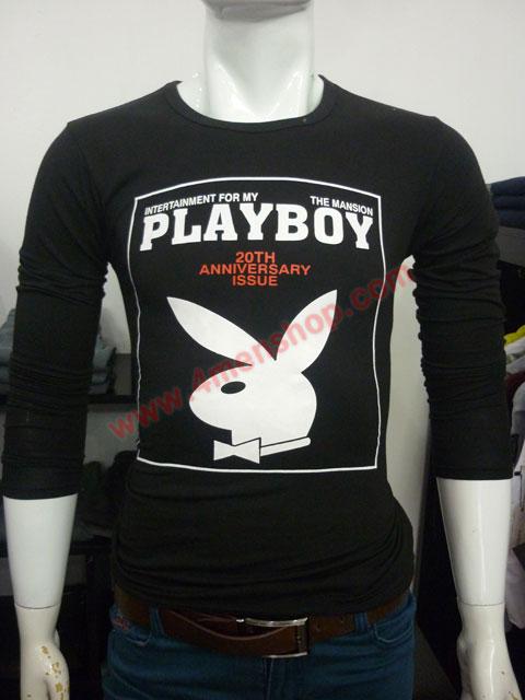 Áo thun tay dài playboy 2023 đen - 1