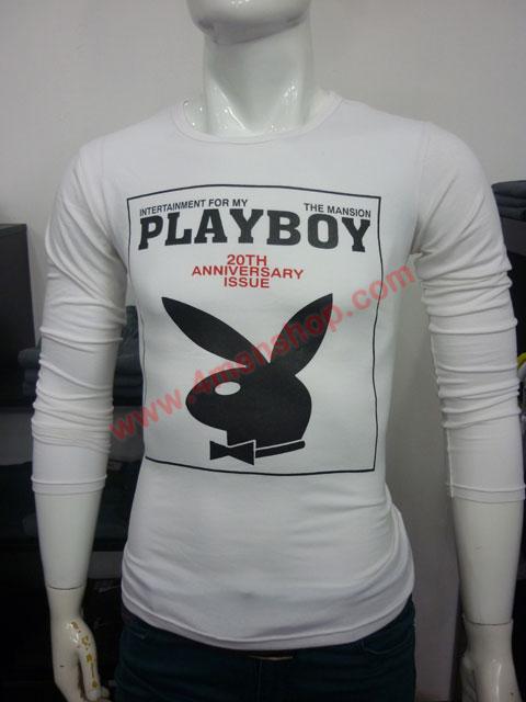 Áo thun tay dài playboy 2023 trắng - 1