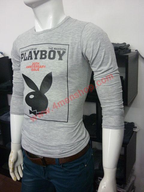 Áo thun tay dài playboy 2023 xám chuột - 2