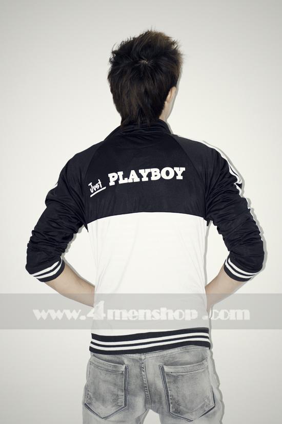 Áo khoác bóng chày playboy k056 trắng đen - 3