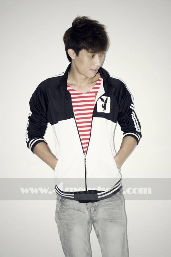 Áo khoác bóng chày playboy k056 trắng đen - 1