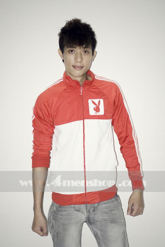 Áo khoác bóng chày playboy k056 trắng đỏ - 1