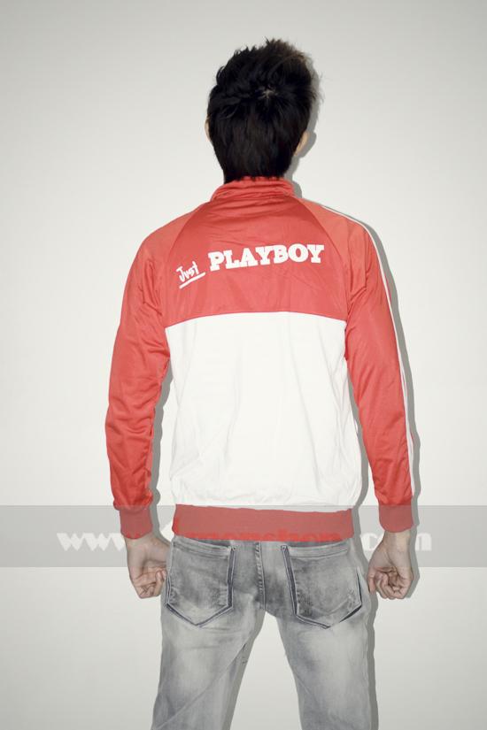 Áo khoác bóng chày playboy k056 trắng đỏ - 4