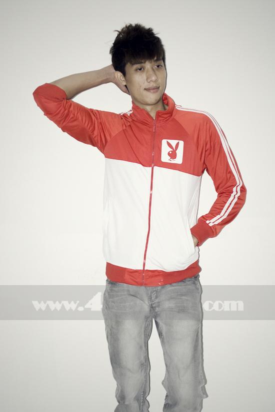 Áo khoác bóng chày playboy k056 trắng đỏ - 3
