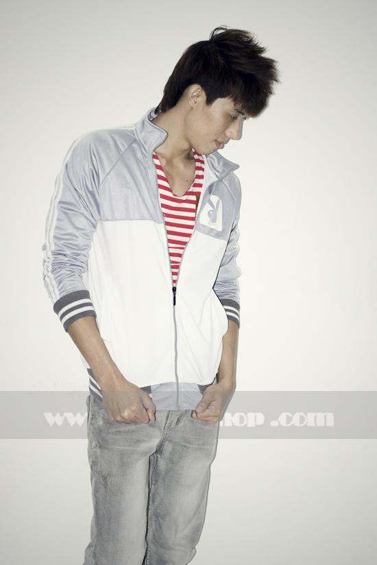 Áo khoác bóng chày playboy k056 trắng xám - 3