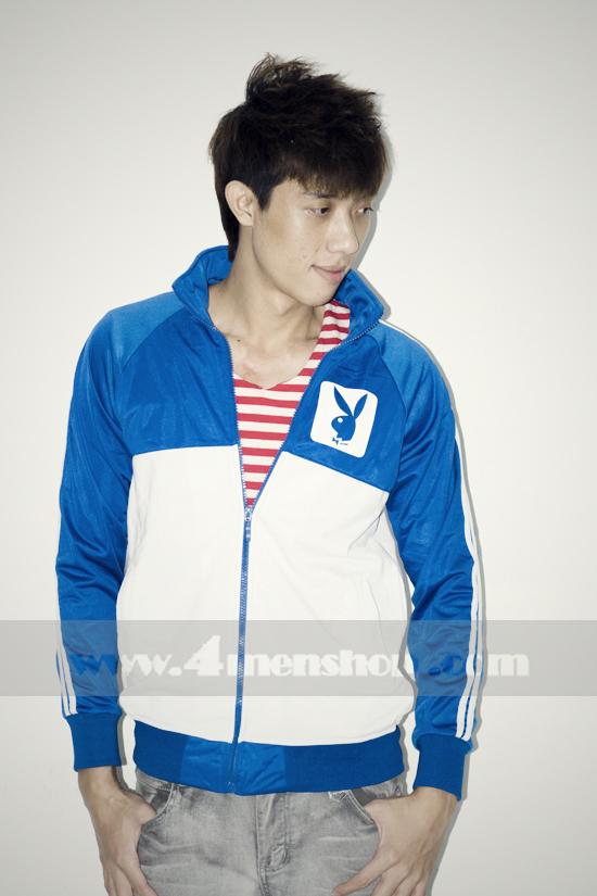 Áo khoác bóng chày playboy k056 trắng xanh - 1