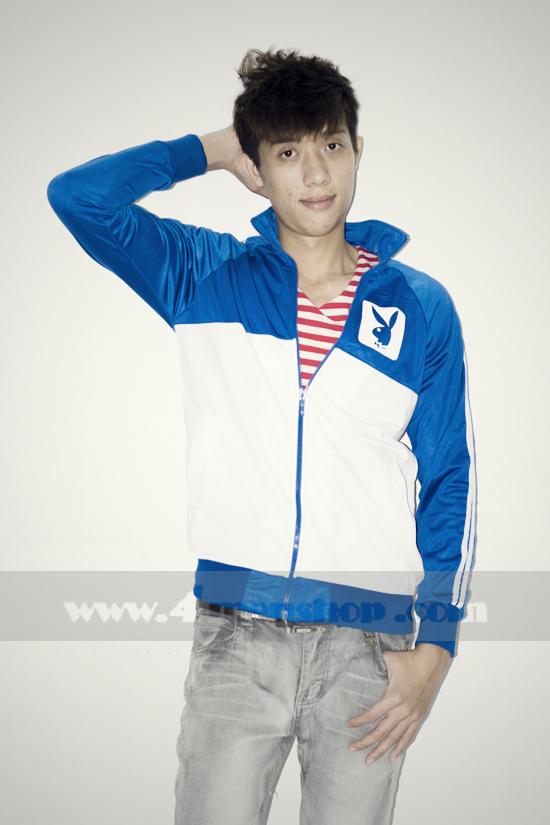Áo khoác bóng chày playboy k056 trắng xanh - 2