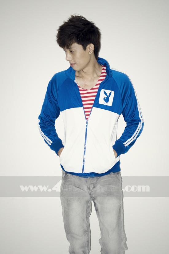 Áo khoác bóng chày playboy k056 trắng xanh - 3