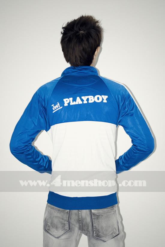 Áo khoác bóng chày playboy k056 trắng xanh - 4
