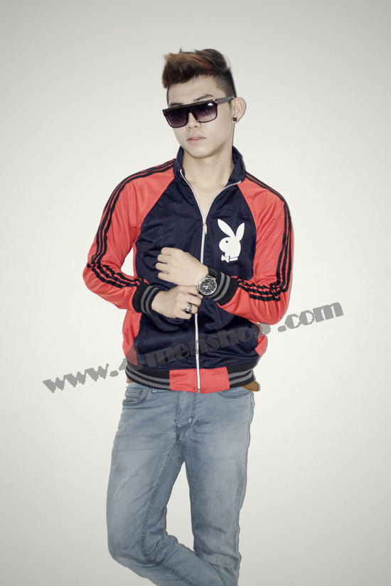 Áo khoác bóng chày playboy k41 đỏ đen - 1