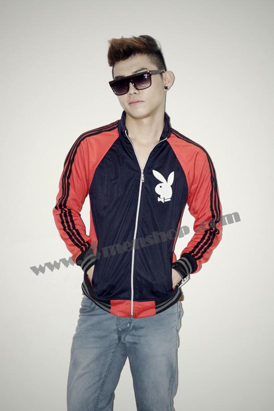 Áo khoác bóng chày playboy k41 đỏ đen - 3
