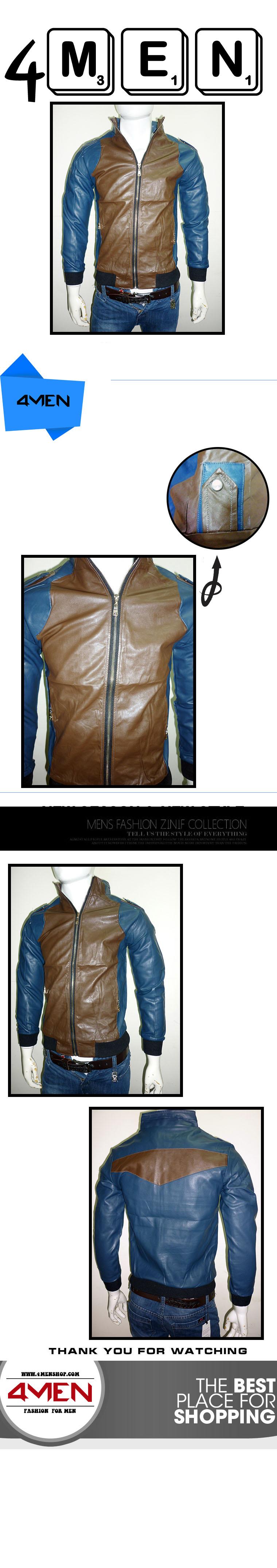 Áo khoác da xanh đen ak069 - 1