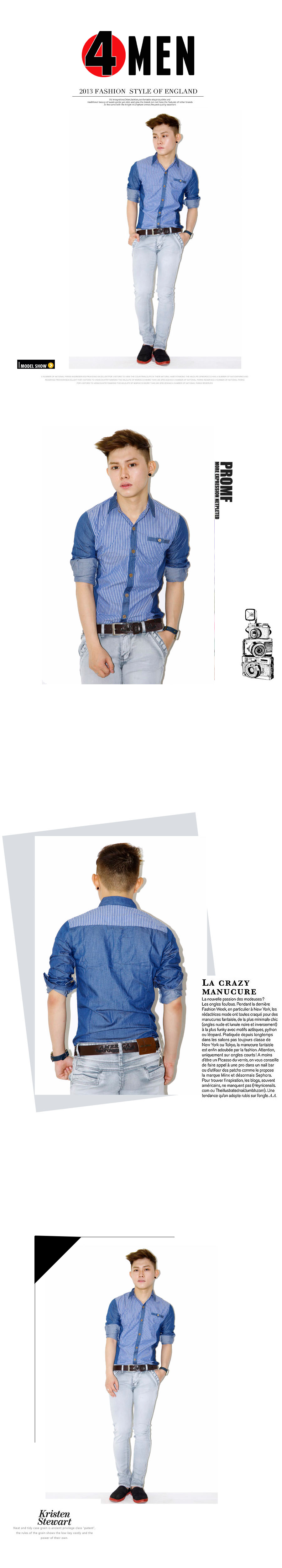 Áo sơ mi jean sọc xanh asm1054 - 1