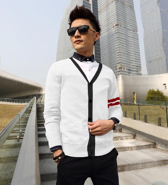 Áo khoác cardigan trắng tay sọc đỏ đô ac076 - 1