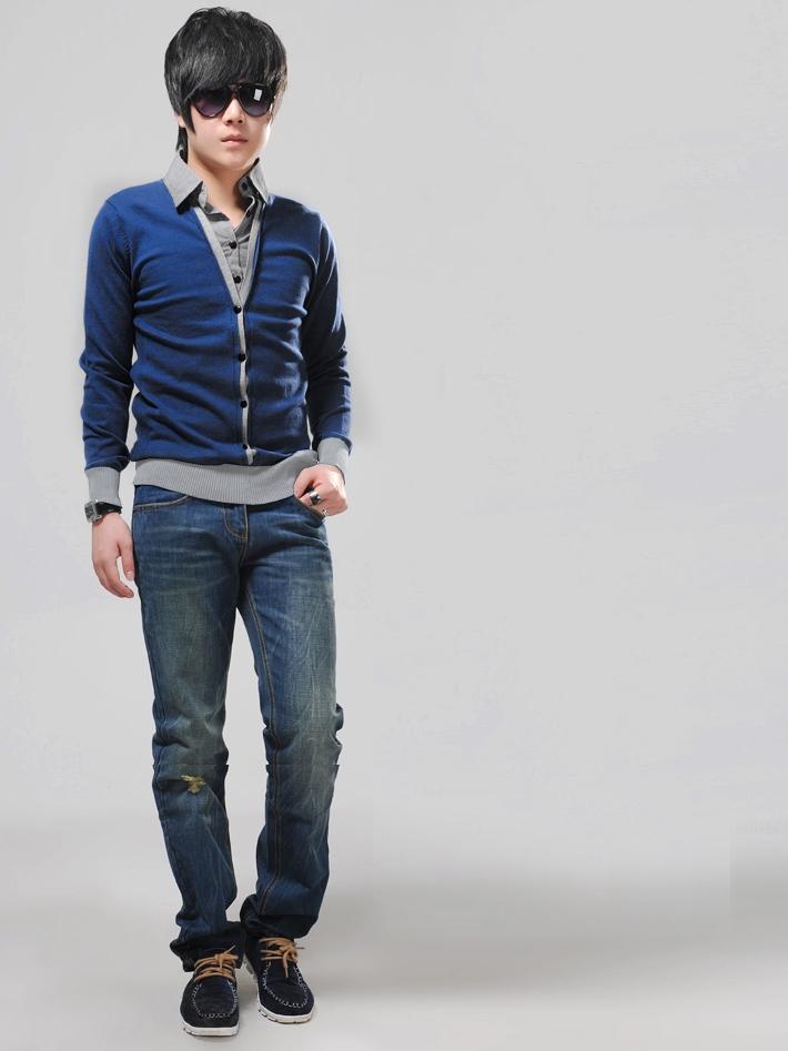 Áo khoác cardigan xanh đen ac077 - 1