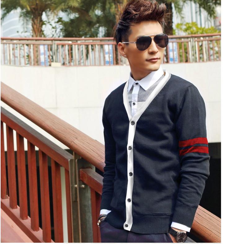 Áo khoác cardigan xanh đen sọc đỏ đô ac076 - 1