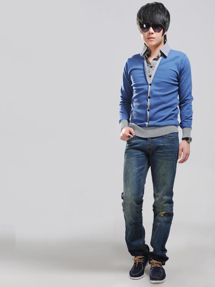 Áo khoác cardigan xanh dương ac077 - 1