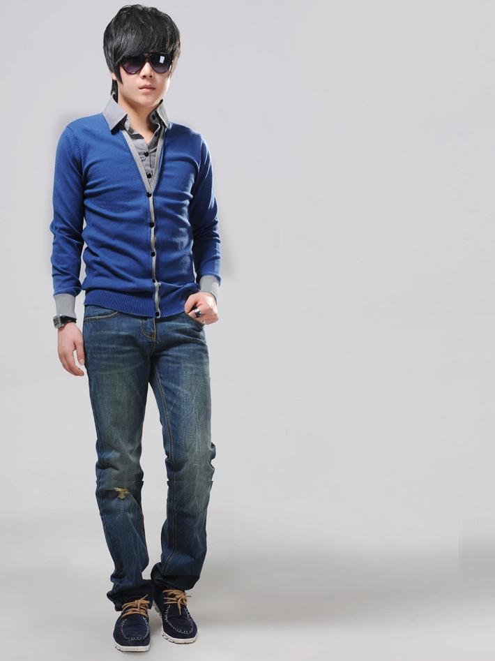 Áo khoác cardigan xanh dương ac080 - 1