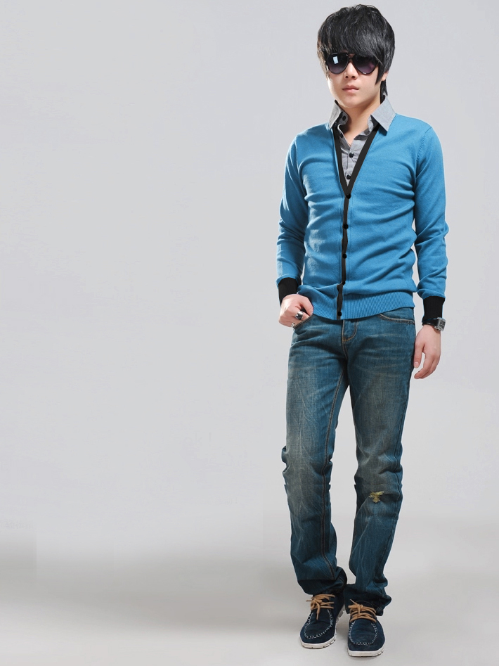 Áo khoác cardigan xanh ya ac080 - 1