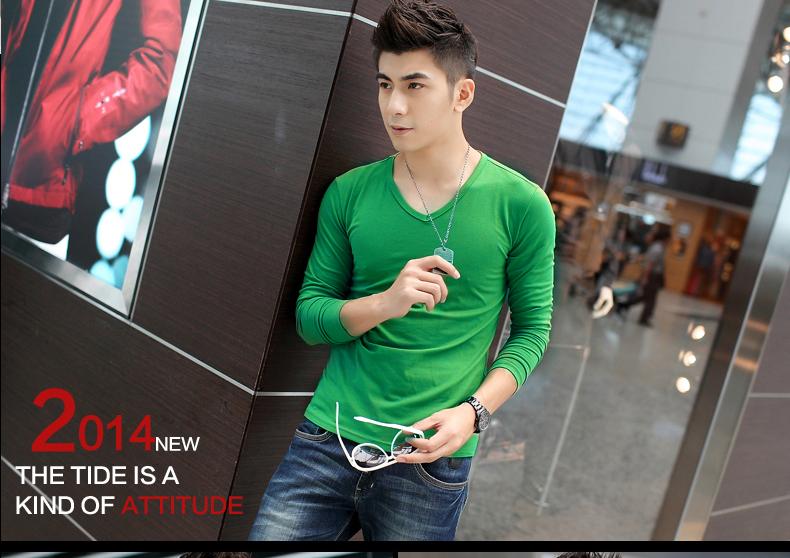 Áo thun tay dài trơn cổ tim xanh lá cây at493 - 1