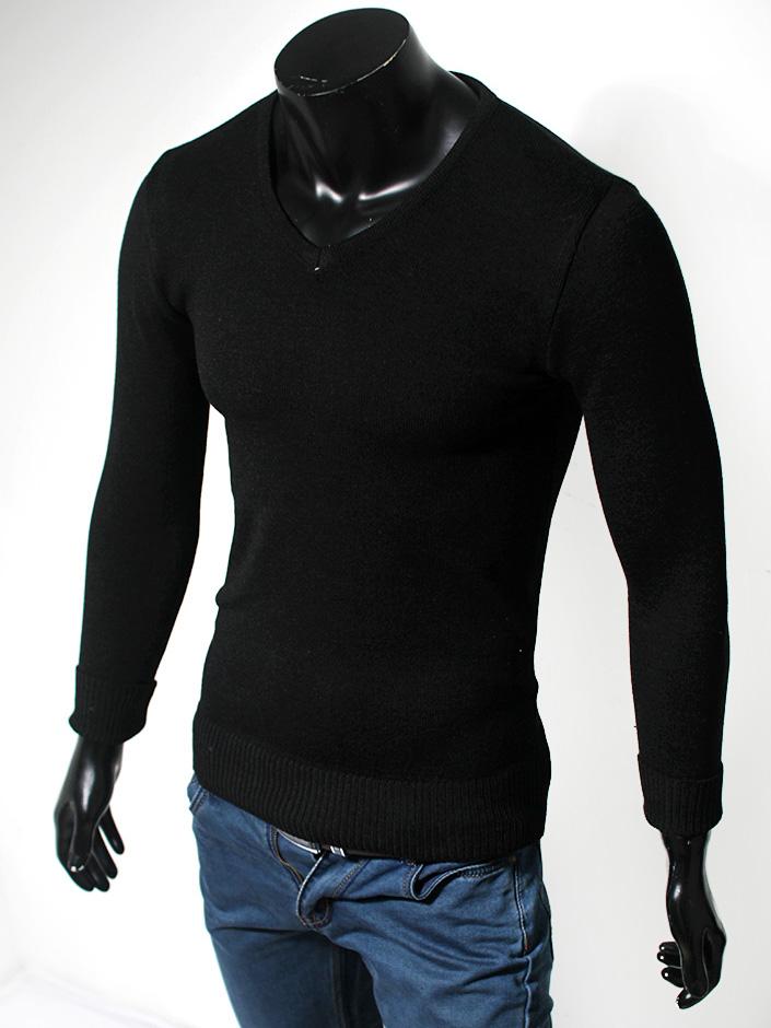 Áo len cổ tim trơn đen al24 - 1