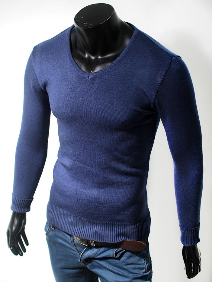 Áo len cổ tim trơn xanh dương al24 - 1