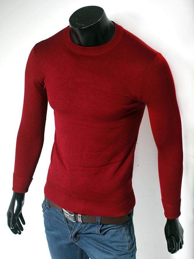 Áo len cổ tròn trơn đỏ đô al55 - 1
