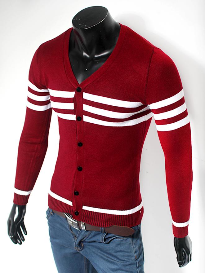Áo cardigan len cổ tim đỏ đô al48 - 1