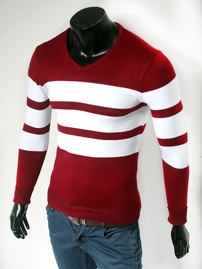 Áo len cổ tim đỏ đô al49-2 - 1