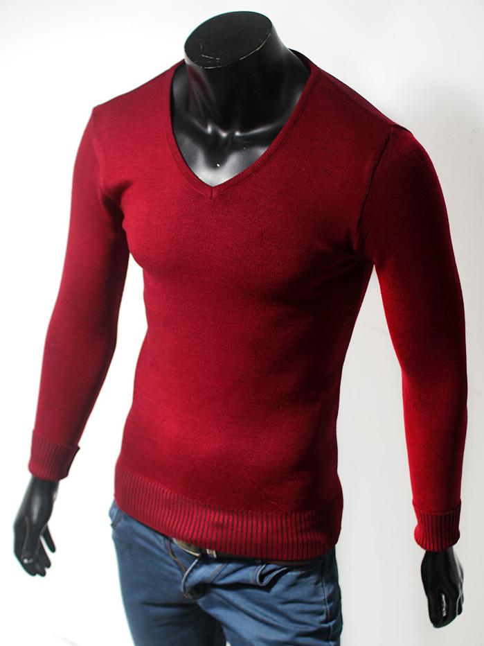 Áo len cổ tim trơn đỏ đô al43 - 1