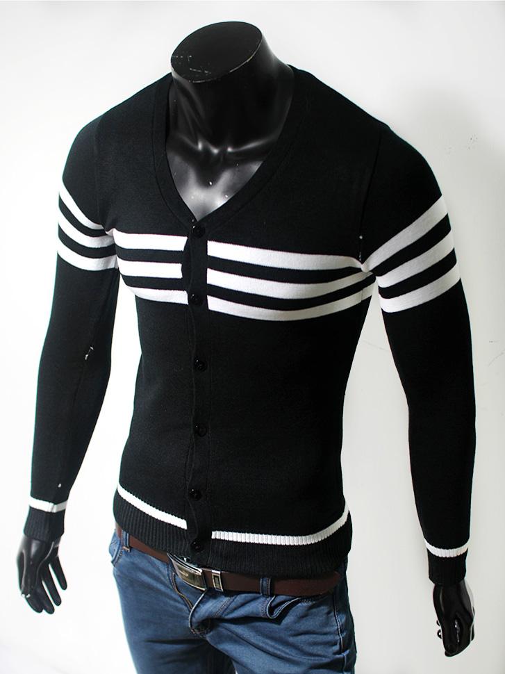 Áo cardigan len cổ tim đen al48 - 1