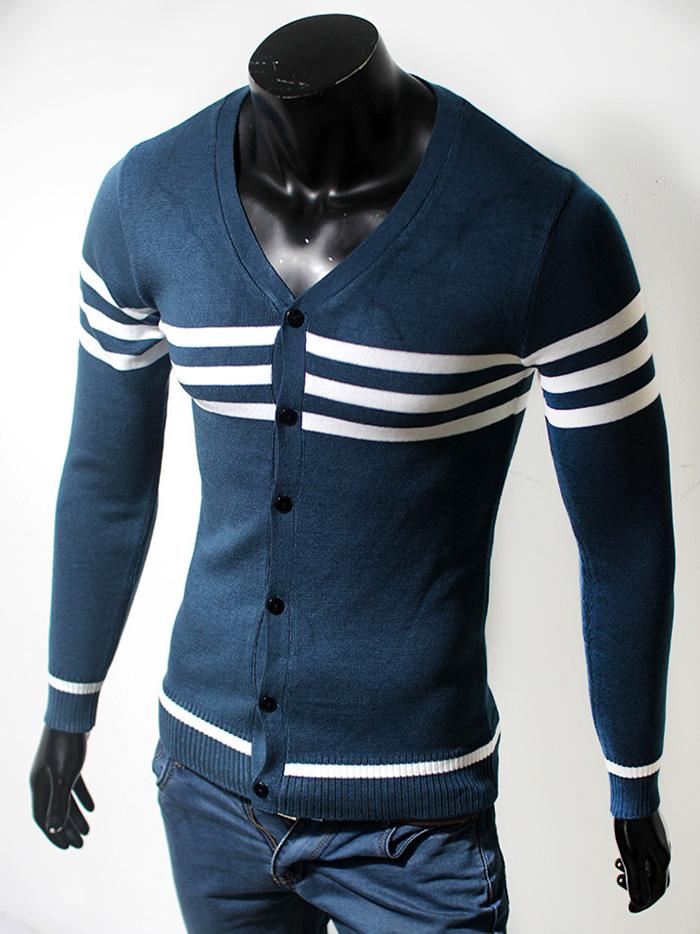 Áo cardigan len cổ tim xanh cổ vịt al48 - 1