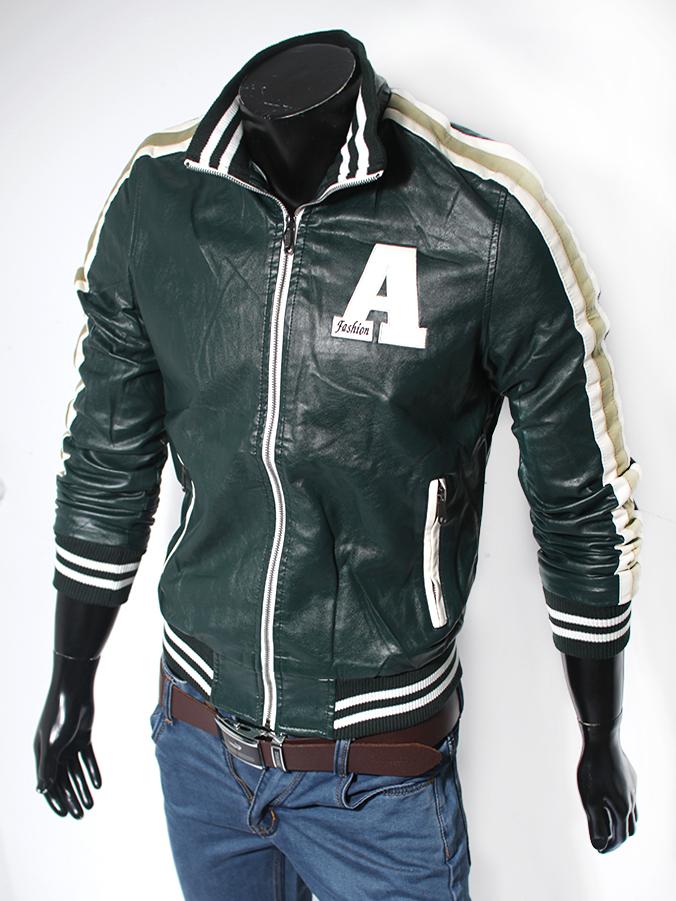 Áo khoác da xanh rêu ak116 - 1