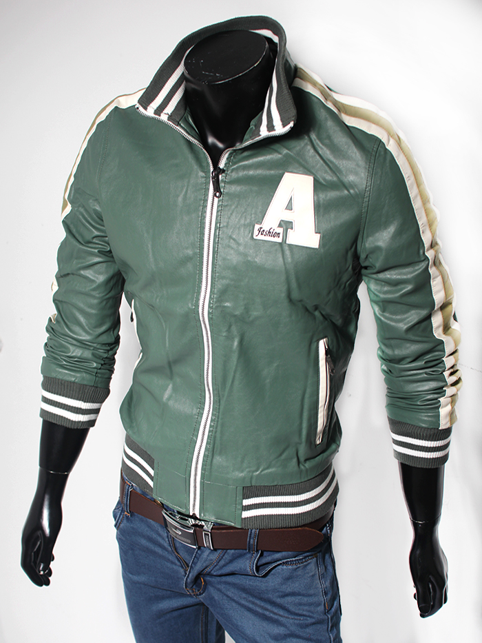 Áo khoác da xanh lá cây ak116 - 1