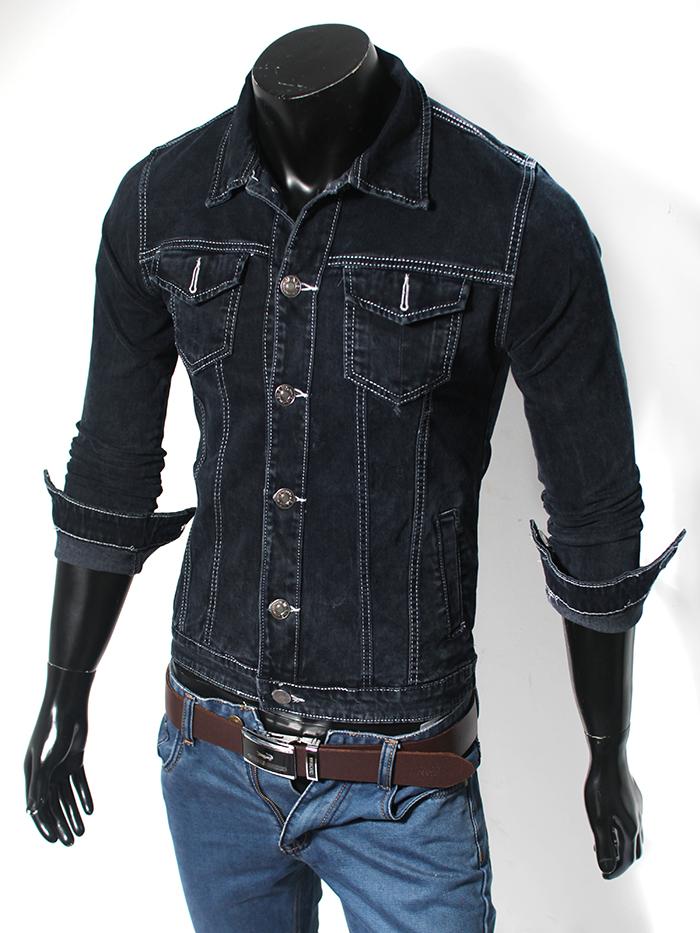 Áo khoác jean xanh đen ak120 - 1