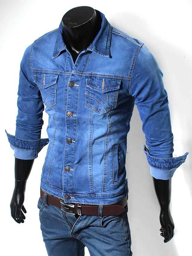Áo khoác jean xanh dương ak118 - 1