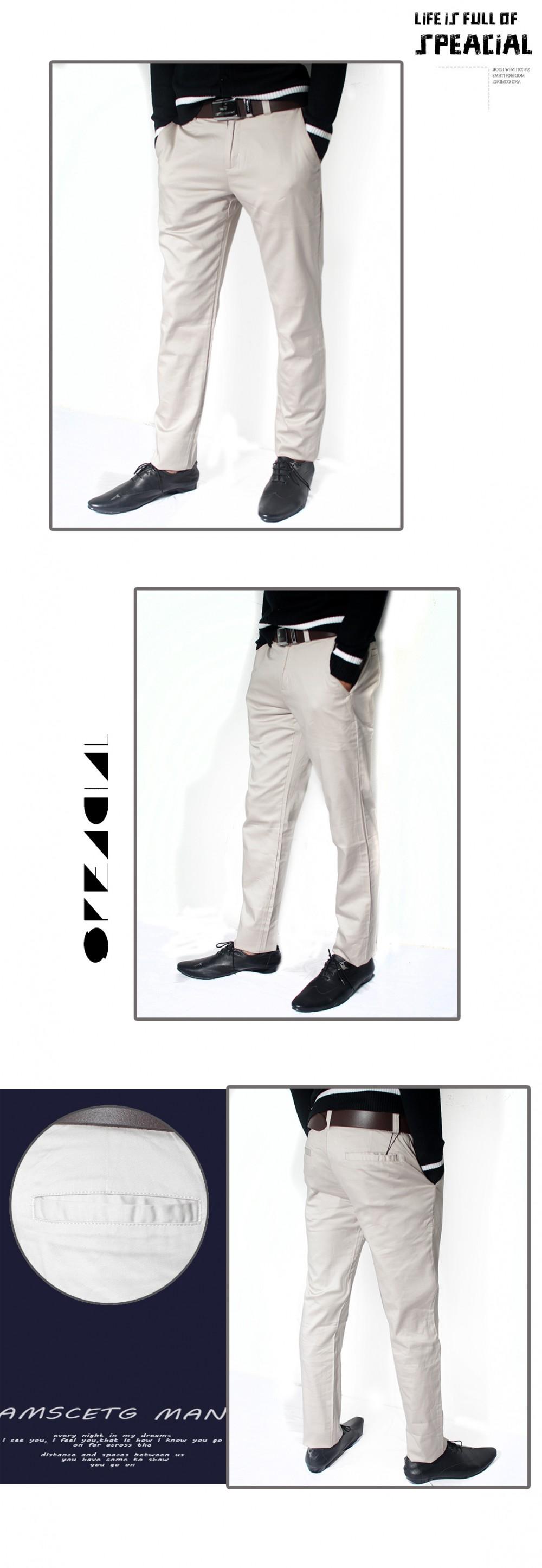 Quần kaki hàn quốc kem trắng qk110 - 1